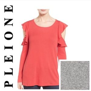 BNWT Pleione Ruffled Cold Shoulder TOP Sweater